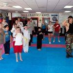 Salute the Flag before karate class