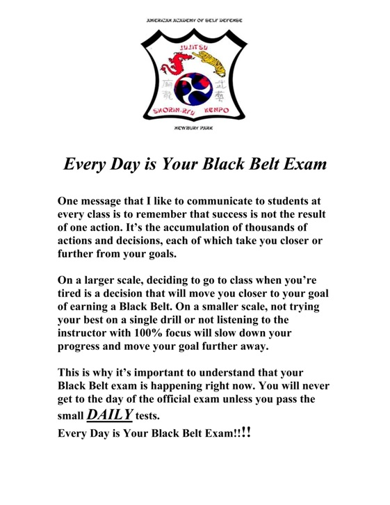 Every Day is Your Black Belt Exam copy