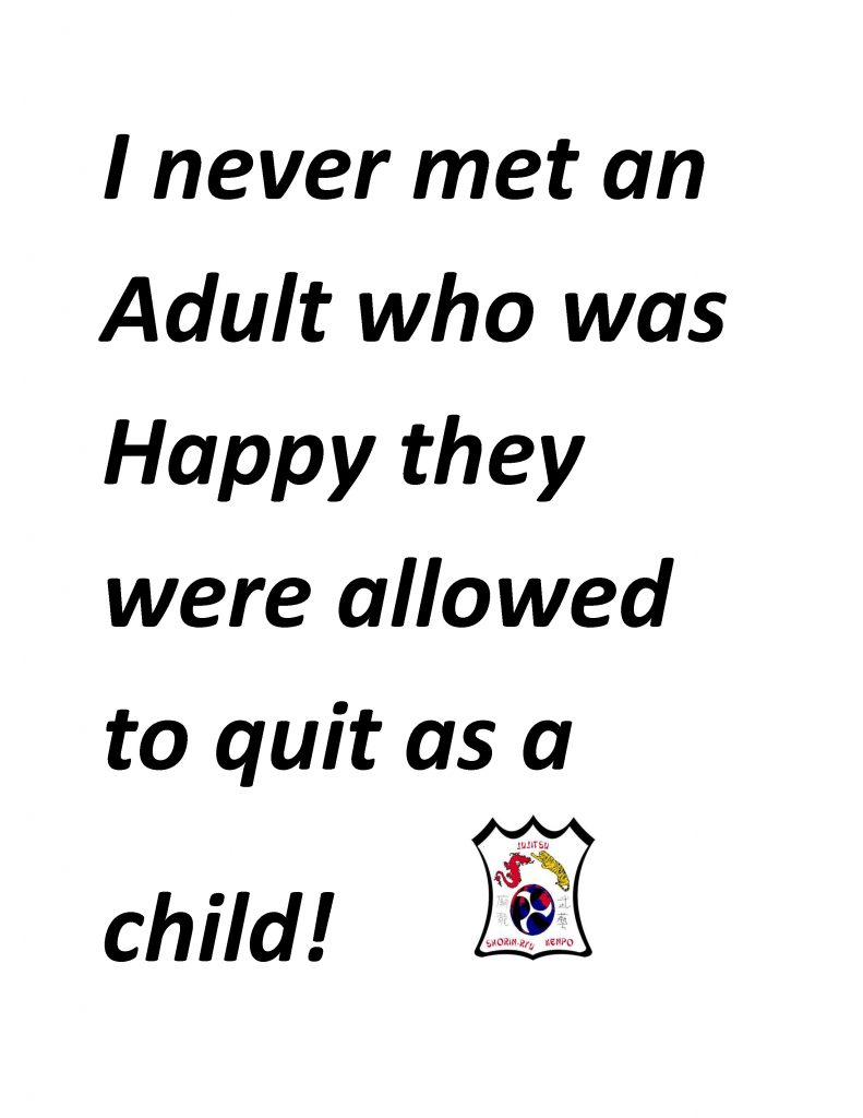I never met an Adult who was Happy they were allowed to quit as a child copy
